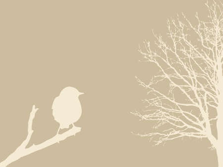 bird on branch on brown background, vector illustration Vector