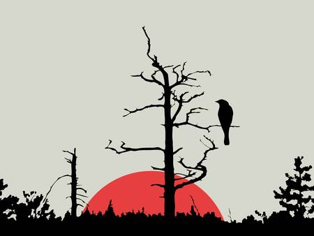 canvas painting: bird on branch amongst wood, vector illustration