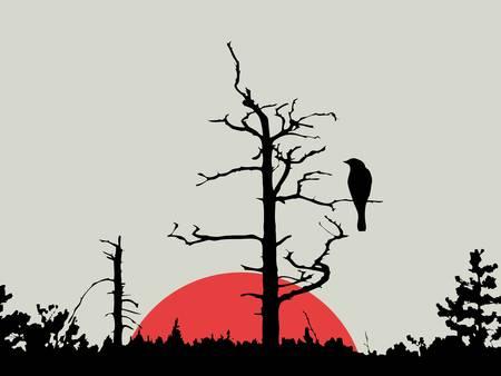 vogel op tak onder hout, vector illustratie