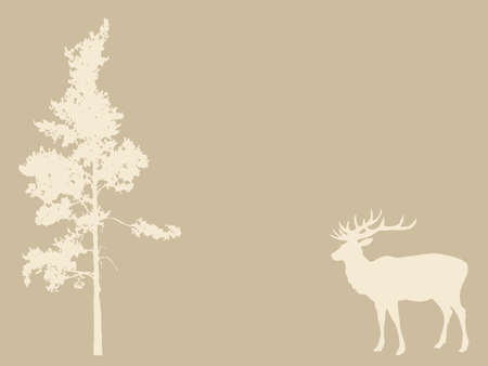 deer near pines on brown background, vector illustration Vector