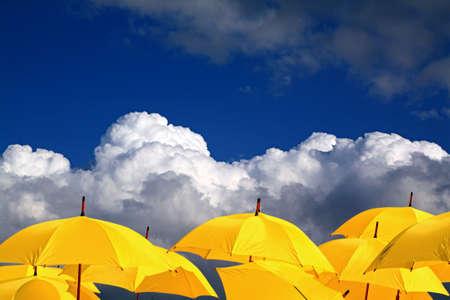 흐린 배경에 노란 우산