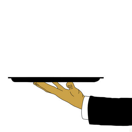 tray in waiter hand, vector illustration Illustration