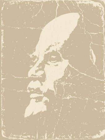 lenin: Lenin silhouette on brown background, vector illustration Illustration