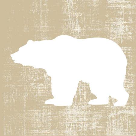 bear silhouette: sopportare silhouette su sfondo illustrazione vettoriale marrone,