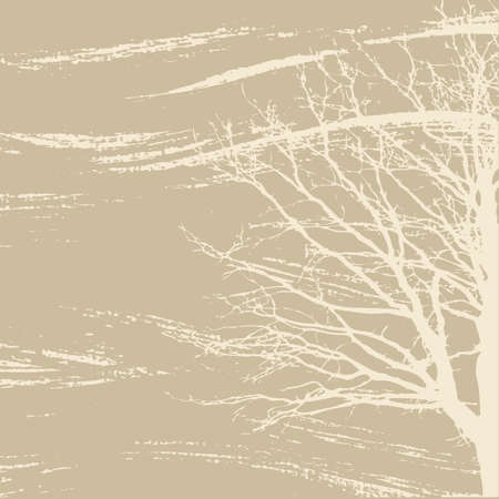 tree silhouette on brown background, vector illustration Illustration