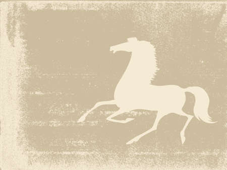 horse silhouette on grunge background Vector
