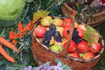 apple in basket on rural market photo