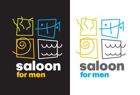 male grooming: Barber shop logo vector template. Modern flat label logo design. Barber saloon logo design. Fashion barber saloon logo. Man and woman scissors logo for a barber shop.