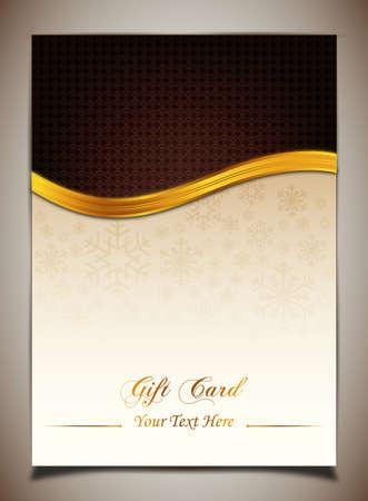 golden ribbon: Brown gift card Illustration
