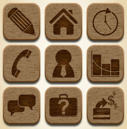 Wooden icons set Vector