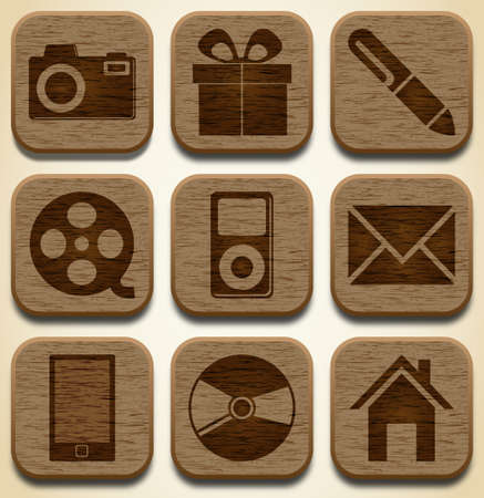 audio video: Wooden icons set Illustration