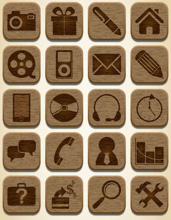 home shopping: Wooden icons set Illustration