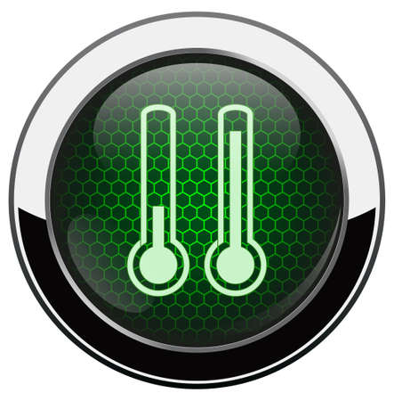 Green honeycomb thermometer icon Vector