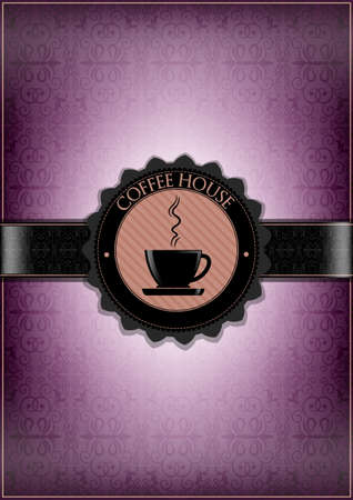 Purple coffee house menu design Vector