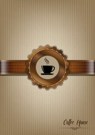Brown coffee house menu design Vector