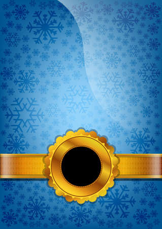 Blue celebration paper and golden ribbon Vector