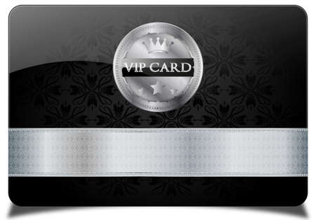 black and silver: Black vip card and metallic label  Illustration