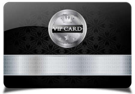 Zwarte vip-kaart en metalen label