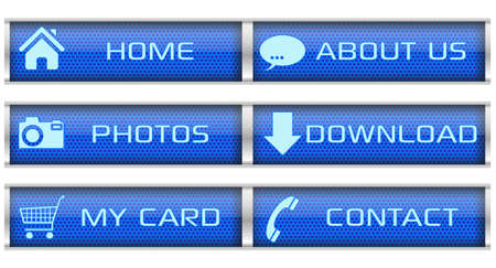 Blue honeycomb icon set Vector