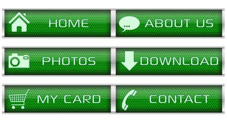 Green honeycomb icon set Stock Vector - 17004435