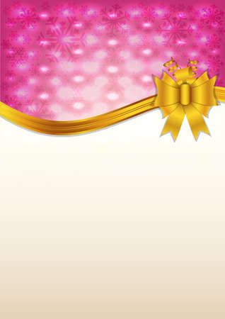 Pink invitation card and golden ribbon Vector