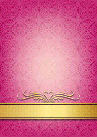 gold textures: Pink invitation paper decorated with floral patterns Illustration