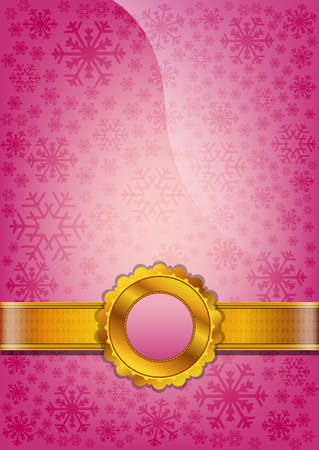 Pink abstract background decorated with snowflakes Vector