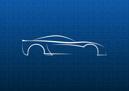 white car: Auto logo bianco su sfondo trama blu Vettoriali