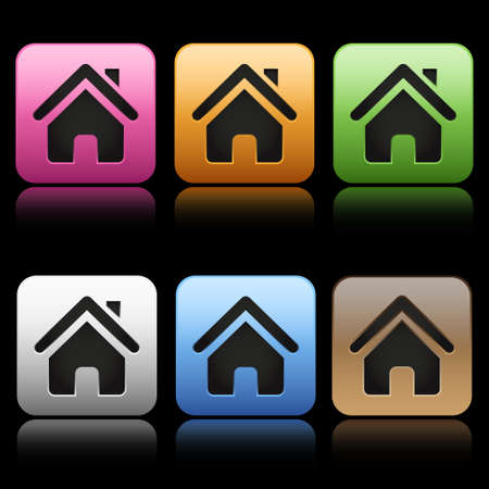 Colorful home icons Vector