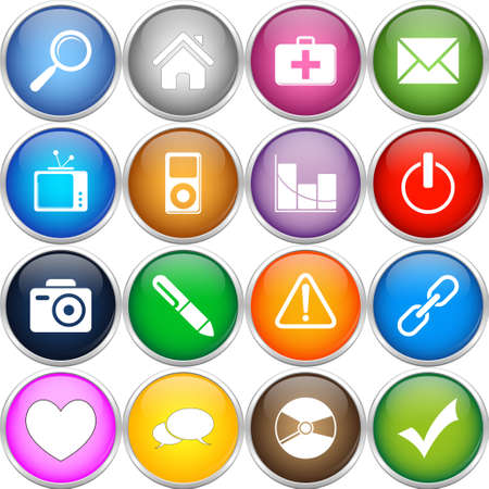 Colorful icons set Illustration