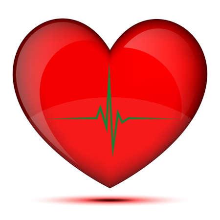 oscilloscope: Healthy glowing heart Illustration