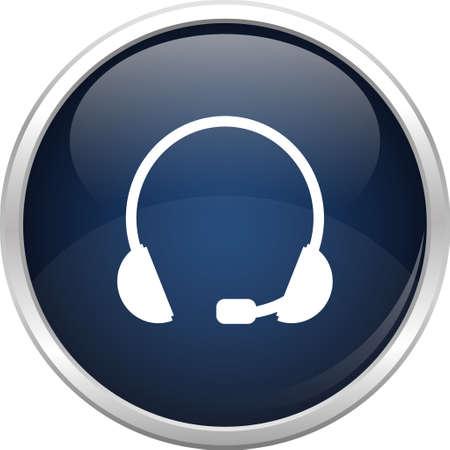 head phone: Esfera de cristal y el icono de auriculares Vectores