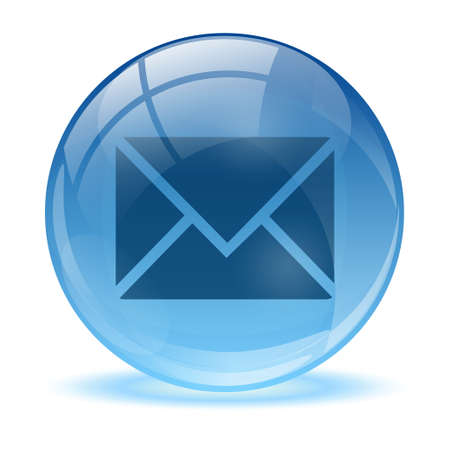3D glass sphere mail icon  Vector