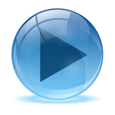 3D glass sphere play icon  Vector