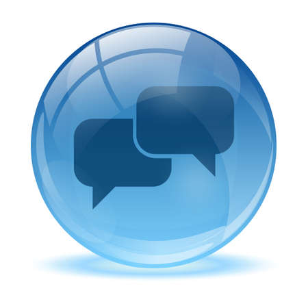 3D glass sphere talk icon  Stock Vector - 17418193