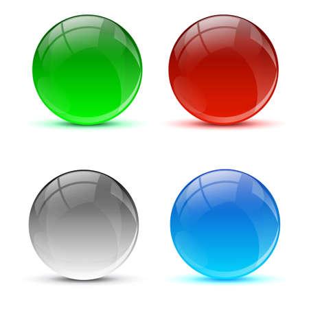 3D glass icons balls Illustration