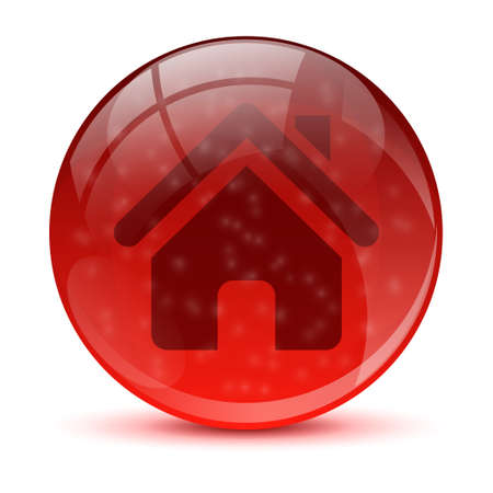 3d red home icon Stock Vector - 17422698