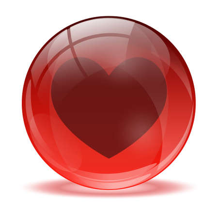 3D glass sphere and heart icon Vector