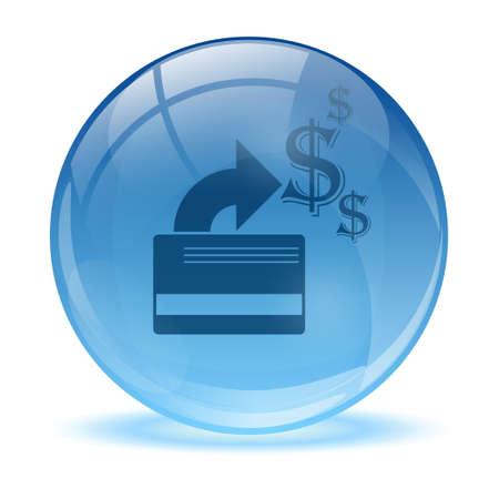 tarjeta visa: Esfera de cristal en 3D y el icono de la tarjeta de crédito