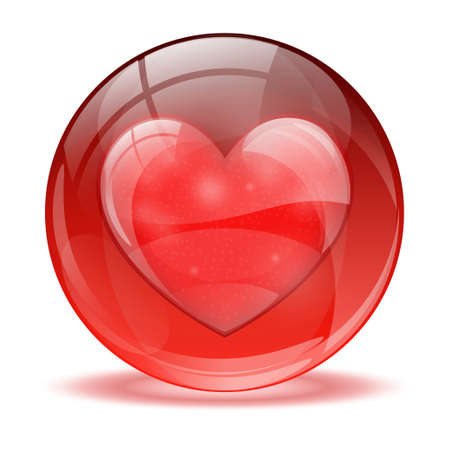 3D glass sphere and heart  icon Stock Vector - 17422725