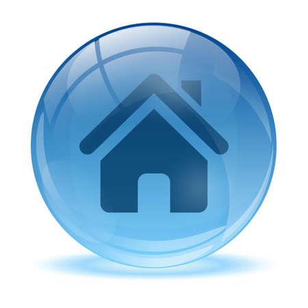 icone maison: Sph�re en verre 3D et l'ic�ne de la maison Illustration