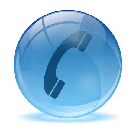esfera de cristal: Esfera de cristal en 3D y el icono de tel�fono Vectores