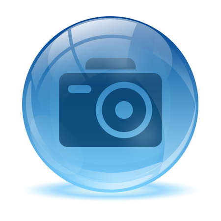 3D glass sphere and photo icon Vector