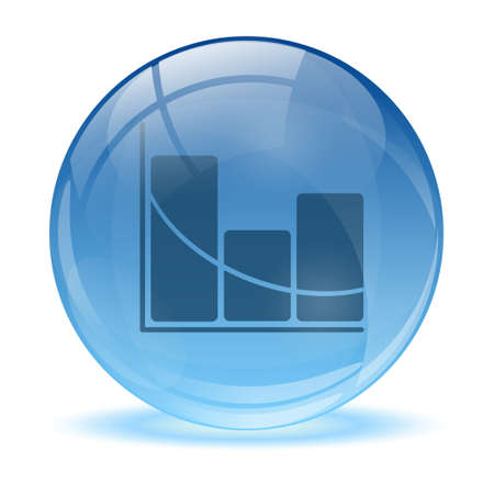 3D glass sphere and statistic icon Vector