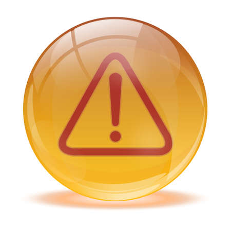 3D glass sphere and warning icon Vector
