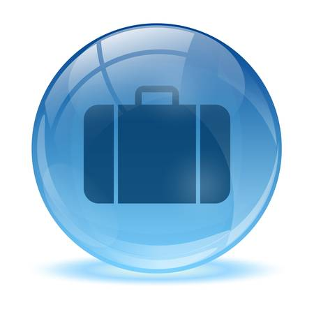 bag icon: Blue abstract 3d business bag icon Illustration