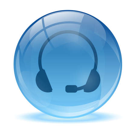 Blue abstract 3d headset icon Illustration