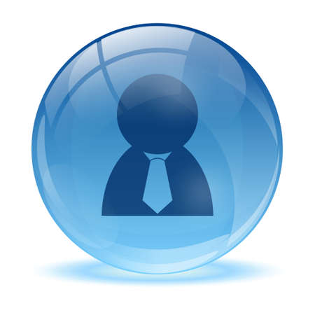 global retirement: 3D glass sphere and business man icon