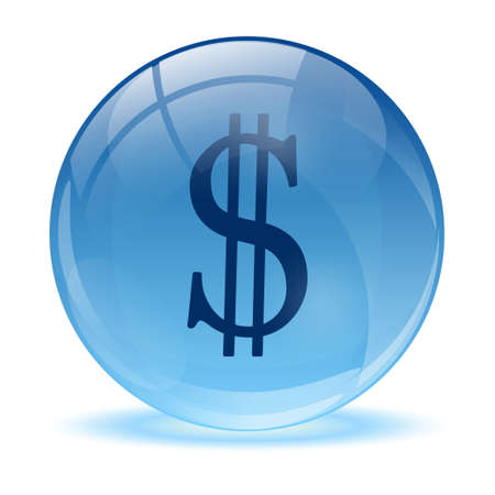 3D glass sphere and blue dollar icon  Vector