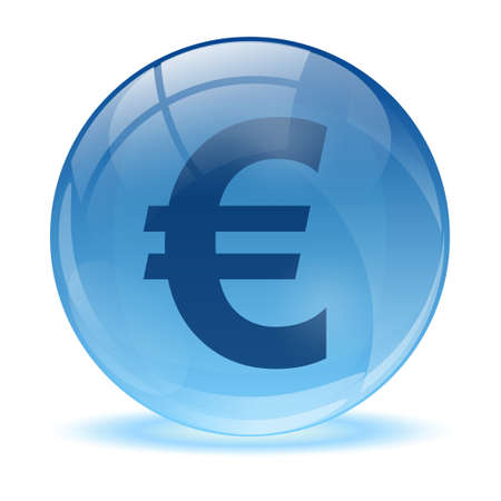 3D glass sphere and green euro  icon  Vector